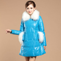 2013 genuine leather clothing raccoon fur sheepskin coat medium-long down female outerwear