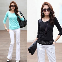 Free Shipping Autumn and Winter New Arrival Big Size Rhinestones Cotton Basic Shirt XL-XXL-XXXL-XXXXL