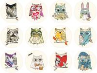 Diy heat fabric heat transfer heat transfer printing painting handmade patchwork - - 2 owl