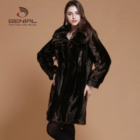 mink fur hair medium-long slim overcoat Women winter faux fabric