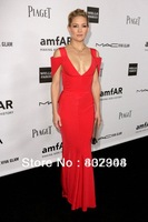 Free shipping Kate Hudson Gala Gurung red chiffon floor length deep v-neck mermaid red carpet dress/ celebrity dress