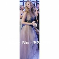 Free shipping Serena A-line V-neck organza Gossip Girl Dresses /Prom Dresses /evening dress