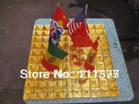 Free shipping golden color plastic pyramid flag stands
