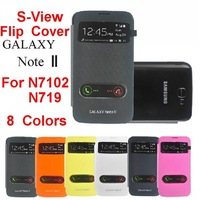 For Samsung Galaxy Note II N7102 / N719 Original S-View Open Two Window Flip Leather Back Cover Cases Battery Housing Case