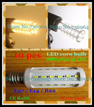 Free shipping 10 pcs SMD 5630 42 LED 12W E27 E14 B22 Corn Bulb Light Maize Lamp LED light LED Lamp LED Lighting Warm/Cool White