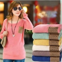 Cii 2013 Autumn hedging Slim Korean women loose long-sleeved knit sweater coat primer shirt thread