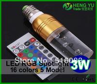 Wholsale 5pcs Free Cree 3W LED RGB spotlight E27 E14 GU10 GU5.3 24key remote control dimmable led bulb lamp crystal design