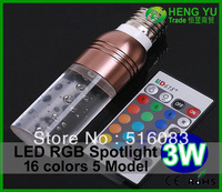 20pcs DHL FEDEX Free Cree 3W LED RGB spotlight E27 E14 GU10 GU5.3 24key remote control dimmable led bulb lamp crystal design
