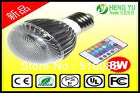 New concept Cree E27 8W RGB globe bulb lamp Remote Control multiple colour AC 85-265V free shipping