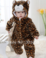 Retail(6-24M) Children Kids Toddler's Baby Winter Jumpersuits leopard Flannel Cotton padded Rompers Overalls Christmas costume