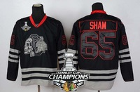2013 Stanley Cup Champions Patch Chicago Blackhawks #65 Andrew Shaw Black Ice Skull Heads Ice Hockey Jersey Free Shipping