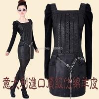 2014 autumn and winter plus size  4xl female slim leather  pencil basic  long-sleeve PU hip slim one-piece dress