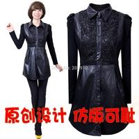 2014 autumn and winter medium-long plus size female PU outerwear slim basic short dress  long-sleeve dress