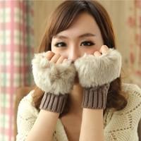 Brand Winter Warm Imitation Rabbit Faux Fur Women Gloves Knitted Patchwork Waist Gloves half Finger Gloves