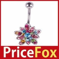 [Price Fox] Colorful Lotus Flower Rhinestone Navel Belly Button Barbell Ring Body Piercing High Quality