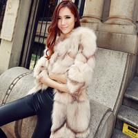 Fox wool medium-long fur coat 2013 female autumn and winter picao