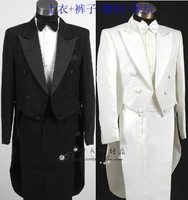 Male black-and-white tuxedo suits costume beige formal dress piano formal dress