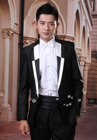 Male black suits costume the groom married slim formal dress