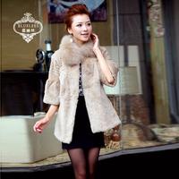 Fur coat 2013 rex rabbit hair fox three quarter sleeve medium-long cute shirt fur coat