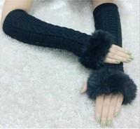 New !!  Winter Gloves Arm Warmer Fingerless Women Long Gloves with Fur Imitation Rabbit Hair , Knitted Fur Trim Gloves Mitten