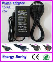 Free shipping  72W power supply for 5050 led strip light input AC100-240V output DC12V 6A