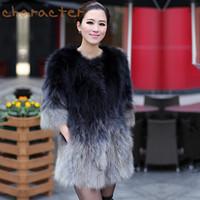 Gradient color 2013 fur raccoon fur fox fur coat medium-long female