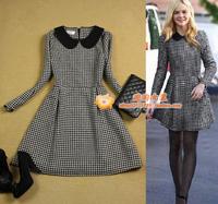 Women's long-sleeve woolen slim plus size peter pan collar houndstooth one-piece dress