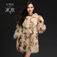 Fur coat fox fur 2013 medium-long wool o-neck
