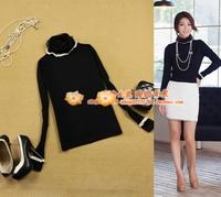 2 women's lace decoration slim black turtleneck pullover sweater basic shirt