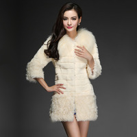 2013 berber fleece rabbit fur fox fur female medium-long outerwear