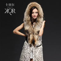 Card twitchell raccoon fur hat tie leopard print rabbit fur coat female vest medium-long 2013