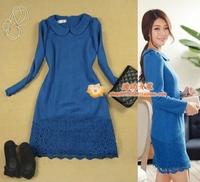 2 women's 2013 autumn and winter long-sleeve woolen lace patchwork peter pan collar peacock blue a one-piece dress