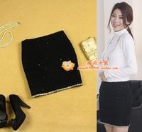 2 women's autumn and winter slim small hepburn laciness elegant black prespinning cloth short skirt