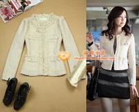 free shipping Women's evidenced LLADRO woolen ol prespinning coat beige