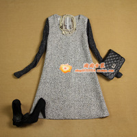 free shipping  women's 13 autumn and winter woolen plus size loose patchwork grey brief doll dress one-piece dress