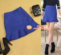 free shipping  women's woolen plus size slim ol petals brief navy blue medium skirt short skirt