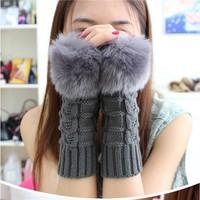 Fashion Winter Glove Arm Warmer Fingerless Women Long Gloves with Fur Imitation Rabbit Hair , Knitted Fur Trim Gloves Mitten
