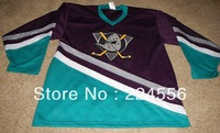 Cheap ICE Hockey Anaheim Mighty Ducks Jersey Purple Teal VTG Authentic Jerseys, Any Number, Any Name Sewn On (XXS-6XL)