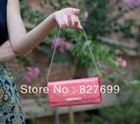 Free shipping Wallet small clutch women's with metal chain long design gentlewomen women's purse