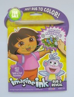 86022,Girl and Monkey Rub and Reveal Book,24-Page Imagine Ink Rub and Reveal Pad and 1 Coloring tool,Conforms to ASTM D4236