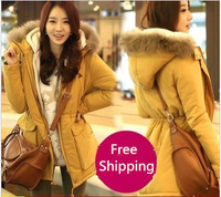 Free Shipping New 2013 Thickening Thermal Hoodies Wadded Jacket Women Cotton Parka Jacket Cashmere Cotton Padded Down Jacket