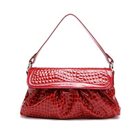 wholesale price crocodile pattern patent leather satchel bags