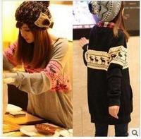 Women's autumn and winter autumn and winter long sleeve length cartoon onta pattern pullover sweatshirt