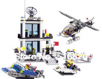 Kazi Police Station Building Block Sets 536pcs Educational DIY Bricks Toys Free Shipping Without Original Box