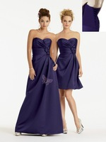 2014 Free Shipping New Stock Sweetheart Sleeveless Flower Pleat Taffeta Purple Cheap Evening Dresses