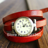 High Quality Vintage Hours Genuine Leather Roma Header Women's Quartz Watches with Genuine Long Strap Watch