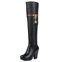 2013 autumn and winter genuine leather women boots high-heeled boots sexy knee-length boots thick heel boots high-leg