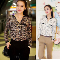free shipping  2013 autumn women's leopard print top loose long-sleeve shirt white star  chiffon shirt