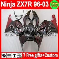 7R Fairing For KAWASAKI NINJA ZX7R 96-03 ZX-7R red black MC1219 ZX 7R 96 97 98 99 00 01 02 03 red flames 1996 1997 1998 2003