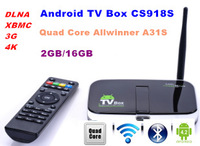 Free shippping 50pcs/lot Newest CS918S Quad Core tv box 2GB/16GB Android 4.2  Built in 5MP Camera Bluetooth with remote control